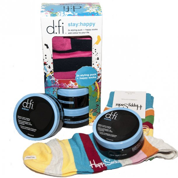 D:FI Stay Happy m/ 2x Molding Creme & Happy socks
